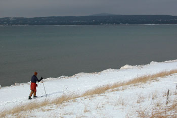 A skier at Petoskey State Park.