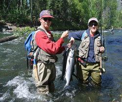 Anglers with sockeye salmon.