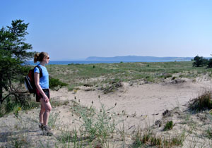 A hiker on the Platte Plains Trail that would be part of the proposed Bay-To-Bay Trail across Sleeping Bear Dunes National Lakeshore.