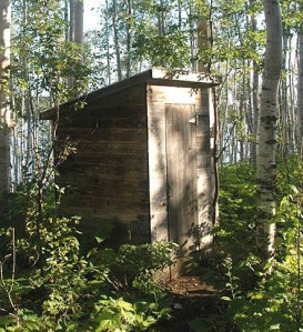 The outhouse at Lake Desor  on Isle Royale National Park.