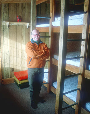 Dave Forbush in the old bunkroom of his Nordic center.