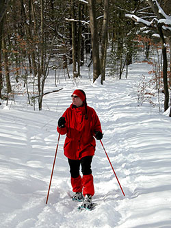 Patty Zwers snowshoes in Saugatuck State Park.