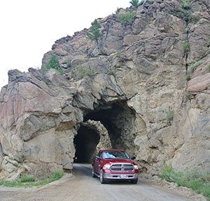 The historic Midland Railroad Tunnels are used by vehicles today along Country Road 371.