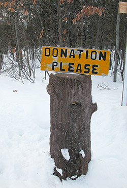 The old donation pipe at the Loud Creek Ski Trail in the Huron National Forest.